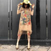 连衣裙夏季2018新款女装欧洲站小鸟印花超仙温柔风大码中长裙子潮GH07701