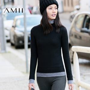 AMII[极简主义] 秋冬款简约撞色高领修身套头毛衣女11641821