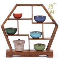 鸡翅木雕博古架紫砂壶六角形古玩底座红木家具奇石底座茶壶架