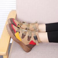 新款韩版百搭嘻哈高帮鞋学生女休闲鞋厚底中跟鞋单鞋潮