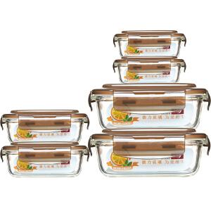 青苹果 耐热玻璃保鲜盒套装 6件套 BXHK06-7 烤箱 冰箱 微波炉适用保鲜盒