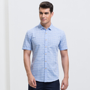 才子男装(TRIES)短袖衬衫 男士2017年新款经典格纹简约清新短袖休闲衬衫