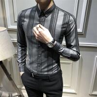 秋季条纹衬衫男长袖潮流百搭休闲衬衣青年韩版修身竖条寸衣免烫