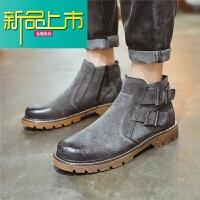 新品上市韩版马丁靴男士春秋套筒复古新款短靴朋克靴休闲男鞋潮英伦高帮鞋