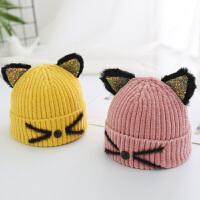 秋冬宝宝毛线猫咪帽子儿童女童婴儿男童女孩针织帽