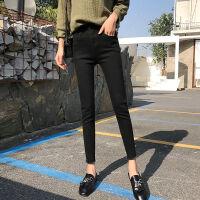 黑色牛仔裤女秋冬韩版弹力高腰修身显瘦原宿风百搭小脚九分裤
