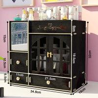 化妆镜收纳盒大号木质化妆品带镜子抽屉用护肤品桌面整理梳妆台置物架