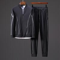 18秋季长袖开衫卫衣套装时尚压胶棒球领丝滑弹力速干运动休闲套装 黑色