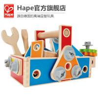 Hape百�木匠工具盒3-6�q��意益智早教�胗淄婢哌^家家玩具E8039