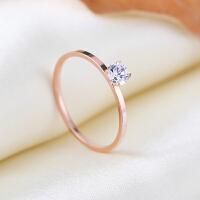 玫瑰金单钻戒细钛钢彩金裸钻戒指细女食指首饰品