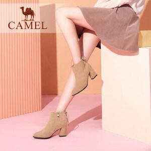 camel/骆驼女鞋 2017秋冬新款 优雅尖头粗跟中跟短筒女靴子通勤绒面短靴