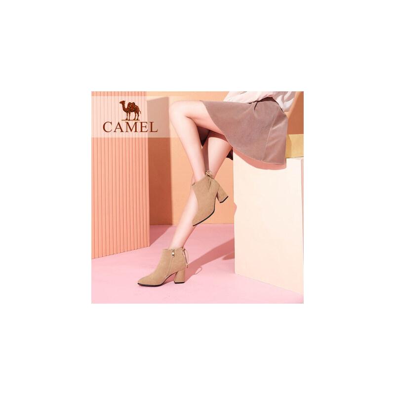 camel/骆驼女鞋  秋冬新款 优雅尖头粗跟中跟短筒女靴子通勤绒面短靴