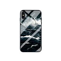 冷淡风苹果6手机壳7plus海浪玻璃6保护套iphonex男女款8个性创意 iphone xs max-海浪