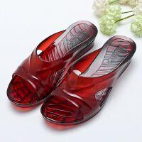 防滑果冻色透明水晶塑料中高跟女拖鞋女士夏季坡跟厚底室外拖镂空 39 偏小一码