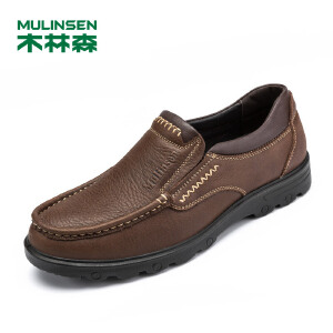 木林森男鞋 秋季商务休闲皮鞋英伦男士单鞋套脚休闲鞋43111040