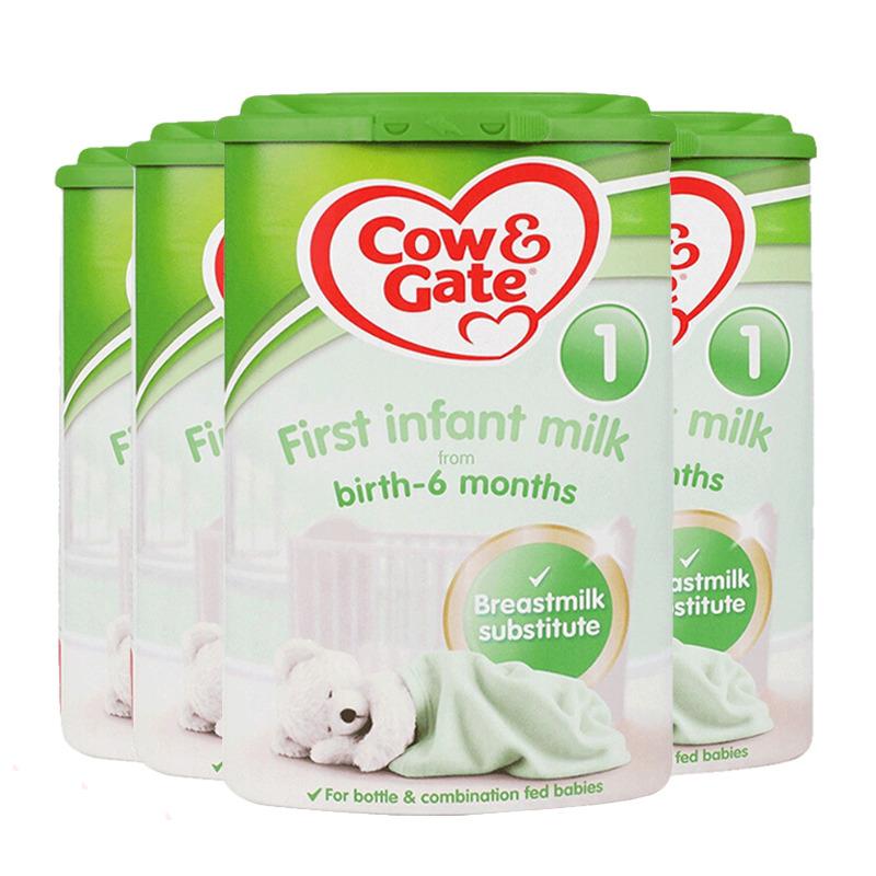 【1段】保税区发货/英国直邮 英国Cow&Gate牛栏 婴幼儿奶粉 一段(0-6个月)  800g*4罐 海外购 新老包装*发货