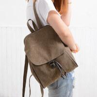 双肩包女包潮帆布包简约女士休闲学院风学生书包背包