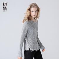 初语 2017春秋新款 套头宽松粗毛线毛衣女慵懒长袖针织外套