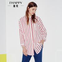 海贝2017秋季新款女装衬衣 翻领文艺撞色竖条纹宽松休闲长袖衬衫