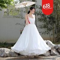 魅儿夏装新款文艺吊带大摆连衣裙女无袖雪纺背心长裙子L5113GH123 白色
