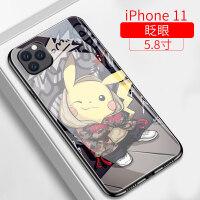 苹果11手机壳潮牌女款保护套iphone11pro个性网红玻璃镜面防摔iphone11max可爱皮卡