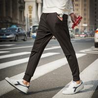 【1折价29.9元】唐狮新款男休闲裤男针织拼接基本小脚休闲长裤