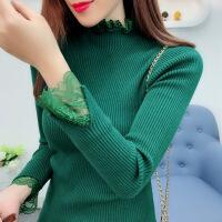 秋冬新款女装蕾丝拼接半高领毛衣女加厚套头修身长袖针织衫打底衫 均码