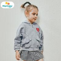 马卡乐童装女宝宝2019秋季新款女童荷叶边口袋蝙蝠廓形长袖外套