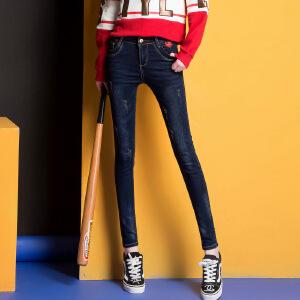 Modern idea2017时尚新款牛仔裤女式小脚铅笔裤潮流修身百搭