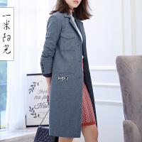 一米阳光 2017春装新款韩版牛仔风衣女中长款英伦风外套