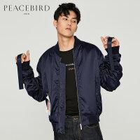 太平鸟男装 秋季新款男士外套哥特印花织带潮牌夹克B2BC73653