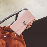 女士钱包女长款新款日韩版搭扣可爱时尚简约学生小钱夹皮夹