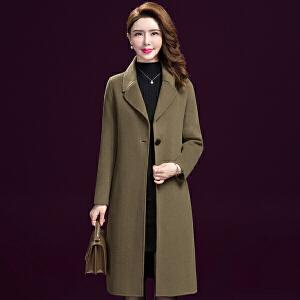 纤纯伊新款中长款外套女羊毛呢大衣女秋冬毛呢外套韩版