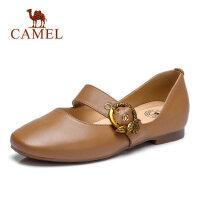 Camel 骆驼真皮女鞋2018春季新款玛丽珍鞋平底单鞋女妈妈鞋平跟休闲皮鞋