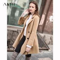 【领券满1000减700】Amii极简chic欧美100%羊毛双面呢外套女2018秋冬修身小个子呢大衣