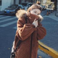 棉衣女2018冬装新款中长款加厚灯芯绒学生长款过膝羊羔毛外套