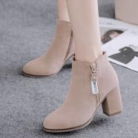 【开胶包退】时装靴女鞋冬女靴高跟鞋裸靴粗跟靴子短靴女春秋单靴