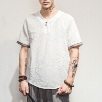 中国风男装仿棉麻T恤夏季宽松短袖大码T恤薄款中式复古仿亚麻体恤2018新品