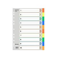 齐心IX902分类纸 十色索引纸 塑料隔页纸 11孔PP彩色10页A4分页纸