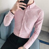 秋季青年韩版男士帅气纯棉商务休闲修身条纹衬衫男长袖衬衣男装潮