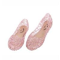 夏季新款洞洞鞋镂空塑料单鞋水晶果冻鞋鸟巢平跟女凉鞋平底沙滩鞋