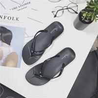 人字拖女夏学生韩版夹脚鞋休闲百搭纯色凉拖鞋平底沙滩鞋 黑色