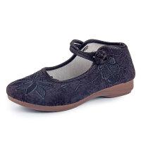 传统绣花鞋老北京布鞋女平底软底中国民族风单鞋妈妈汉服女鞋 35 女款