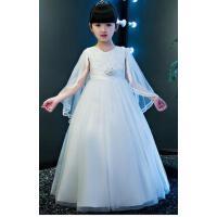 女童礼服裙公主裙夏装长款蓬蓬裙花童礼服婚纱裙白色主持人演出服