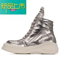 新品上市韩版新款男士潮牌休闲鞋高帮厚底男短靴真皮时尚马丁靴银色男鞋 银色+皮里 单鞋