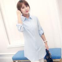 女衬衫白中长款衬衫女宽松长袖冬韩版休闲bf风蓝色衬衣2018新品 天蓝色 雪纺