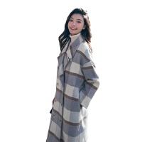 格子羊毛呢外套女中长款秋冬季2018新款韩版学生宽松森系过膝大衣 图片色
