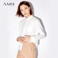 【AMII 超级品牌日】Amii[极简主义]休闲衬衫女2017秋装新款简约口袋显瘦polo领上衣