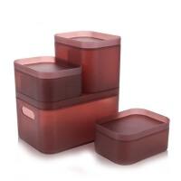 桌面化妆品收纳盒宜家磨砂塑料盒浴室宿舍文具办公杂物整理盒