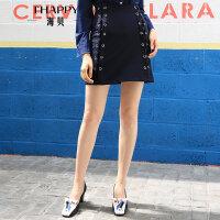 海贝2017秋装新款女装 高腰藏青修身显瘦两侧绑带A字半身裙短裙